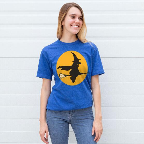 Lacrosse Tshirt Short Sleeve Witch Riding Lacrosse Stick