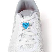 Girls Lacrosse Heart Shoe Charm - Crossed Sticks