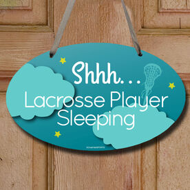 Shhh...Lacrosse Player Sleeping Decorative Oval Sign