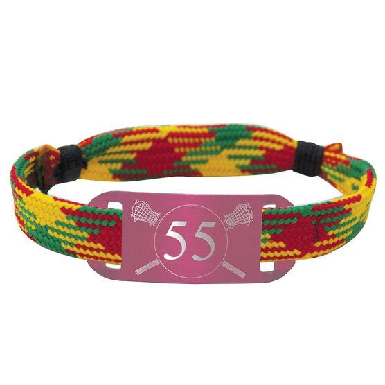 Lacrosse Lace Bracelet Player Number w/ Girls Crossed Lax Sticks Adjustable Sport Lace Bracelet