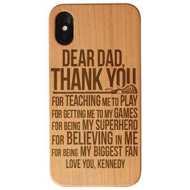 Girls Lacrosse Engraved Wood IPhone® Case - Dear Dad