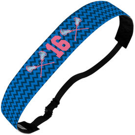 Girls Lacrosse Julibands No-Slip Headbands - Personalized Chevron Crossed Sticks and Number