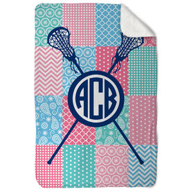 Girls Lacrosse Sherpa Fleece Blanket - Lax Quilt Monogram