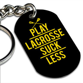 Lacrosse Printed Dog Tag Keychain Play Lacrosse Suck Less