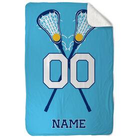Girls Lacrosse Sherpa Fleece Blanket - Personalized Player with Crossed Sticks