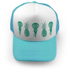 Girls Lacrosse Trucker Hat Lax Pineapples Solid