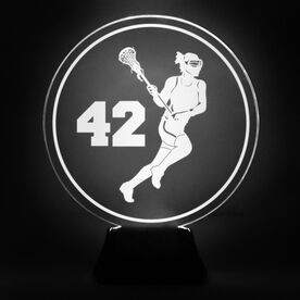Girls Lacrosse Acrylic LED Lamp Lax Girl With Number