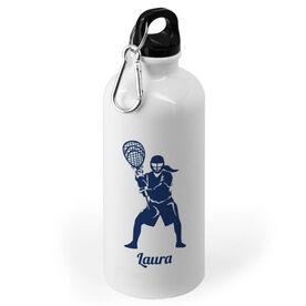 Girls Lacrosse 20 oz. Stainless Steel Water Bottle - Lacrosse Goalie Silhouette