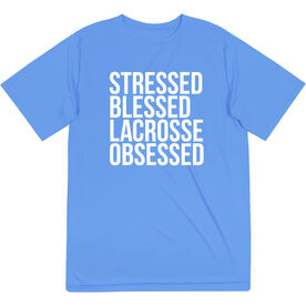 Lacrosse Short Sleeve Performance Tee - Stressed Blessed Lacrosse Obsessed