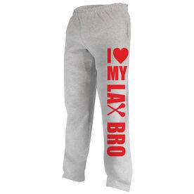 Girls Lacrosse Fleece Sweatpants I Heart My Lax Bro