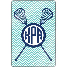 "Girls Lacrosse Aluminum Room Sign (18""x12"") Personalized Monogram with Crossed Sticks and Chevron"