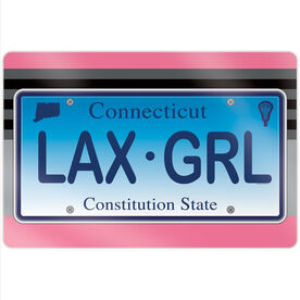 """Girls Lacrosse 18"""" X 12"""" Aluminum Room Sign - License To Play Connecticut"""