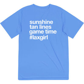 Girls Lacrosse Short Sleeve Performance Tee - Sunshine Tan Lines Game Time
