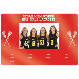 "Girls Lacrosse 18"" X 12"" Aluminum Room Sign - Team Photo With Roster"