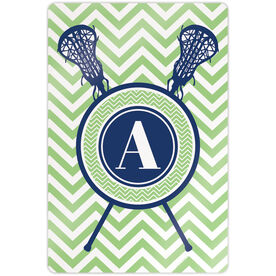 "Girls Lacrosse 18"" X 12"" Aluminum Room Sign - Single Letter Monogram with Crossed Sticks and Chevron"
