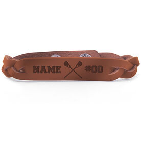 Girls Lacrosse Leather Engraved Bracelet Name Crossed Sticks Number