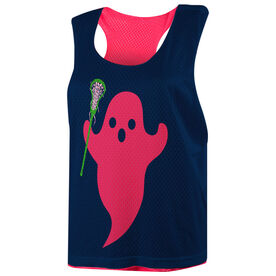 Girls Lacrosse Racerback Pinnie - Pink Ghost with Stick
