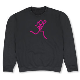 Girls Lacrosse Crew Neck Sweatshirt - Neon Lax Girl