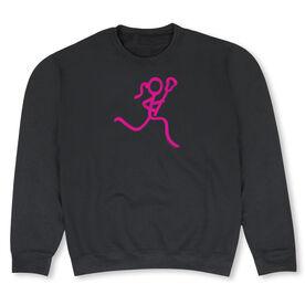 Girls Lacrosse Crew Neck Sweatshirt - Neon Lax Girl