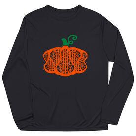 Girls Lacrosse Long Sleeve Performance Tee - Lax Stick Pumpkin