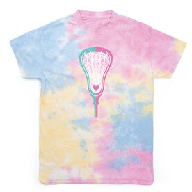 Girls Lacrosse Short Sleeve T-Shirt - Lacrosse Stick Heart Tie Dye