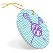 Girls Lacrosse Porcelain Ornament Monogram with Crossed Sticks and Chevron Pattern