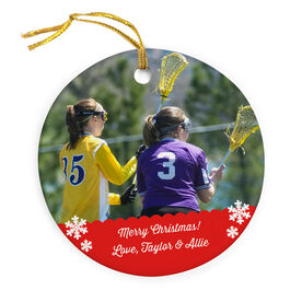 Girls Lacrosse Porcelain Ornament Custom Personalized Photo
