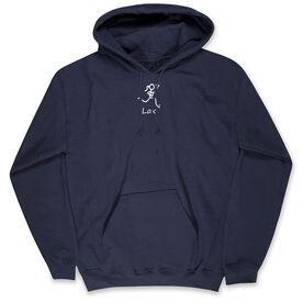 Girls Lacrosse Hooded Sweatshirt - Lacrosse Girl White Stick Figure with Word