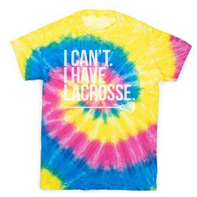 Girls Lacrosse Short Sleeve T-Shirt - I Can't I Have Lacrosse Tie Dye