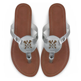 Girls Lacrosse Engraved Thong Sandal - LAX Arrows