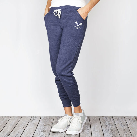 Girls Lacrosse Joggers - Custom Crossed Sticks with Number