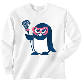 Girls Lacrosse Long Sleeve T-Shirt - Penguin