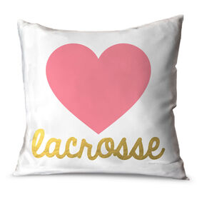 Girls Lacrosse Throw Pillow Heart with Gold Lacrosse