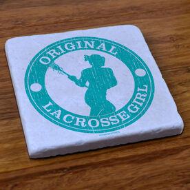 Lacrosse Natural Stone Coaster Original Lacrosse Girl
