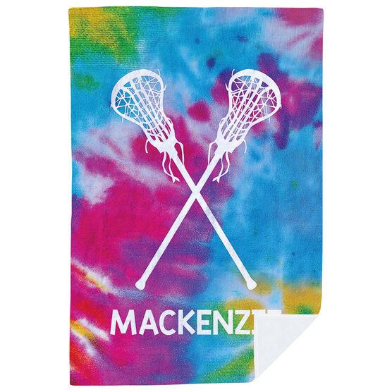 Girls Lacrosse Premium Blanket - Personalized Tie-Dye Pattern with Sticks