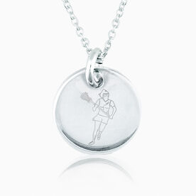 Sterling Silver Lacrosse Girl Player Engraved 20mm Pendant Necklace