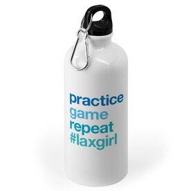 Girls Lacrosse 20 oz. Stainless Steel Water Bottle - Practice Game Repeat