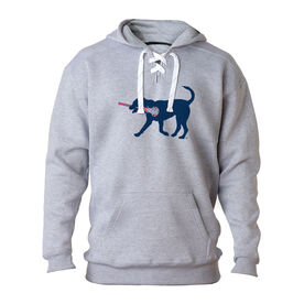 Girls Lacrosse Sport Lace Sweatshirt LuLa the Lax Dog (Blue)