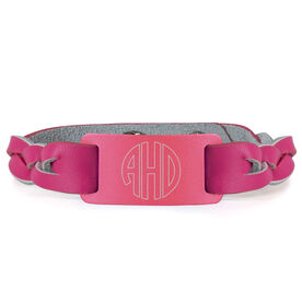 Leather Bracelet with Engraved Plate - Monogram