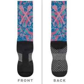 Girls Lacrosse Printed Mid-Calf Socks - Floral Crossed Sticks