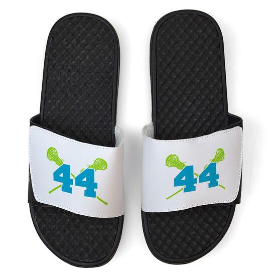 Girls Lacrosse White Slide Sandals - Crossed Sticks with Number