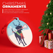 Girls Lacrosse Round Ceramic Ornament - Jingles the Lax Reindeer Dog