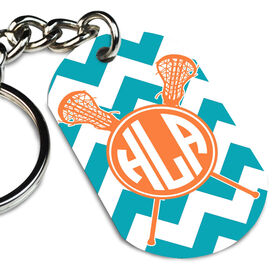 Lacrosse Printed Dog Tag Keychain Monogram Chevron Pattern With Crossed Sticks