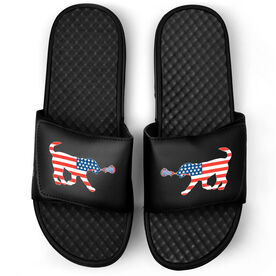 Girls Lacrosse Black Slide Sandals - Patriotic Lula the Lax Dog