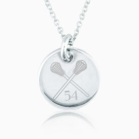 Sterling Silver 20 mm Circle Necklace Lacrosse Number