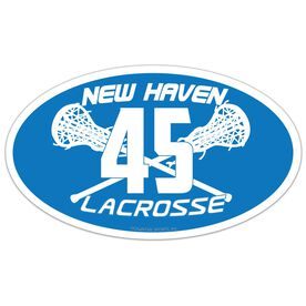 Girls Lacrosse Oval Car Magnet Team Name and Number