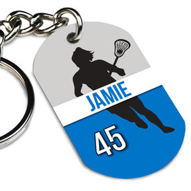 Girls Lacrosse Printed Dog Tag Keychain Personalized Lacrosse Girl Name and Number
