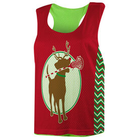 Girls Lacrosse Racerback Pinnie - Jingles The Reindeer Lax Dog
