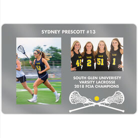 "Girls Lacrosse 18"" X 12"" Aluminum Room Sign - Player and Team Photo"