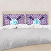 Girls Lacrosse Pillowcase - Personalized Monogram Sticks With Quatrefoil Pattern